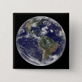 View of the full Earth and four storm systems Pinback Button