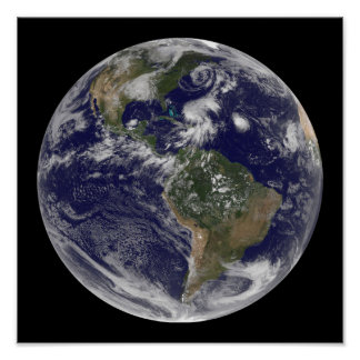 View of the full Earth and four storm systems Print