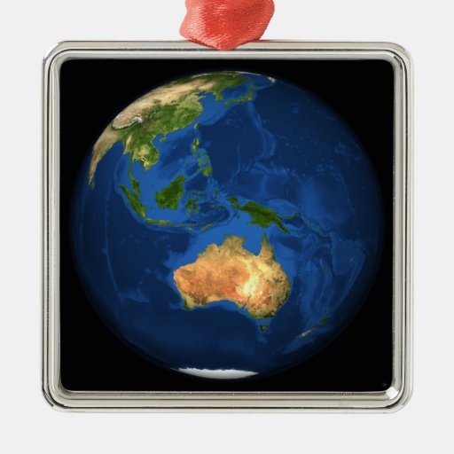 View of the full Earth showing Indonesia, Ocean Square Metal Christmas Ornament