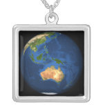 View of the full Earth showing Indonesia, Ocean Square Pendant Necklace