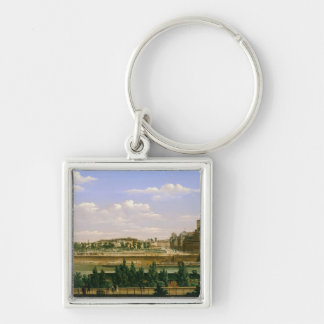 View of the Gardens and Palace of the Silver-Colored Square Keychain