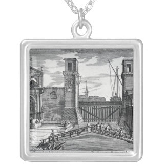 View of the gates at the entrance to Arsenal Silver Plated Necklace
