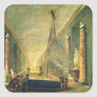 View of the Grand Gallery of the Louvre Square Sticker