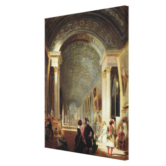 View of the Grande Galerie of the Louvre, 1841 Canvas Print