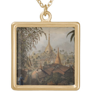 View of the Great Dagon Pagoda and Adjacent Scener Gold Plated Necklace