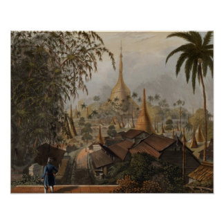 View of the Great Dagon Pagoda and Adjacent Scener Poster