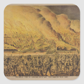 View of the Great Fire of Chicago Square Sticker