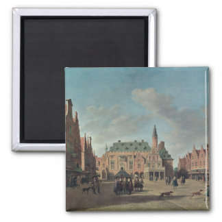View of the Grote Markt in Haarlem 2 Inch Square Magnet