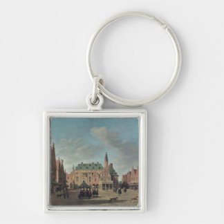 View of the Grote Markt in Haarlem Silver-Colored Square Keychain