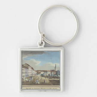 View of the Hackescher Markt Silver-Colored Square Keychain