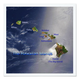 "View of the Hawaiian Islands 5.25"" Square Invitation Card"