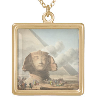 View of the Head of the Sphinx and the Pyramid of Gold Plated Necklace