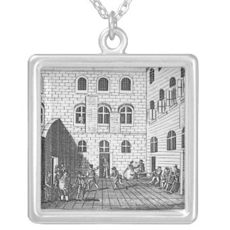 View of the Inside of Newgate, 1809 Silver Plated Necklace