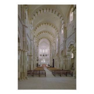 View of the interior of the nave, c.1120-50 poster