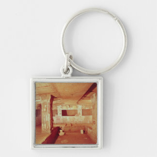 View of the Interior of the Tomb Silver-Colored Square Keychain