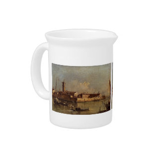 View of the Island by Francesco Guardi Beverage Pitchers