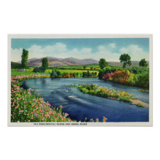 View of the Israel River & the Presidential Rang Print