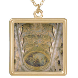 View of the King's Gallery and vaulted ceiling dep Square Pendant Necklace