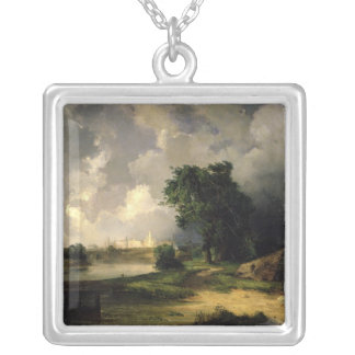View of the Kremlin in Bad Weather, 1851 Silver Plated Necklace