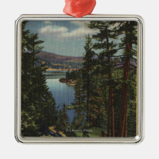 View of the Lake through the Pines # 2 Metal Ornament