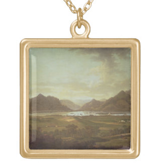View of the Lakes and Mountains of Killarney, Irel Gold Plated Necklace