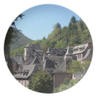 View of the medieval village (photo) melamine plate