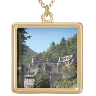 View of the medieval village (photo) personalized necklace