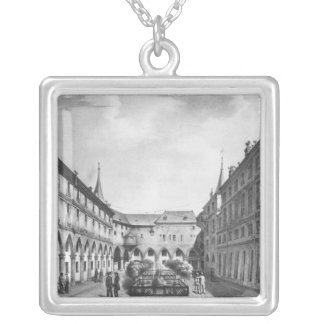 View of the Men's Yard at the Conciergerie Silver Plated Necklace