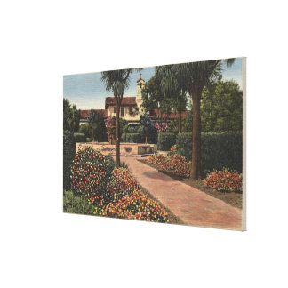View of the Mission, Patio Gardens Canvas Print