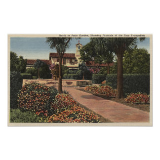 View of the Mission, Patio Gardens Print