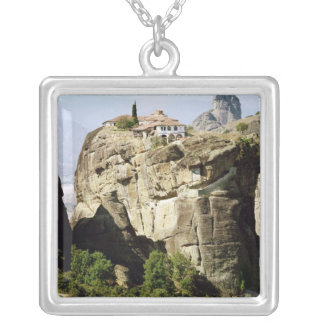 View of the Monastery of the Holy Trinity Square Pendant Necklace