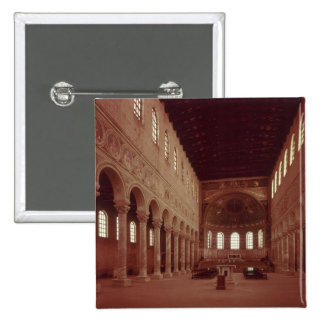 View of the nave and the altar pinback button