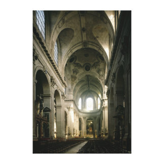 View of the nave towards the choir, built canvas print