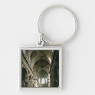 View of the nave towards the choir, built keychain