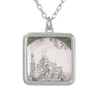 View of the New Jerusalem Monastery near Moscow Silver Plated Necklace