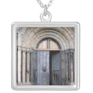 View of the North Door of Durham Cathedral Silver Plated Necklace