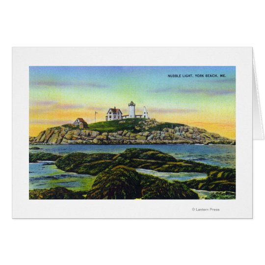 View of the Nubble Lighthouse at York Beach Card