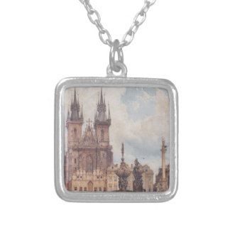 View of the Old Town Square with the Church Square Pendant Necklace
