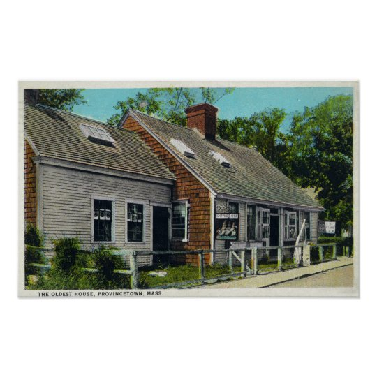 View of the Oldest House in Town Poster