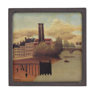 View of the Outskirts of Paris by Henri Rousseau Keepsake Box