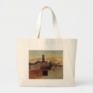 View of the Outskirts of Paris by Henri Rousseau Large Tote Bag
