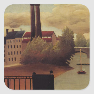 View of the Outskirts of Paris by Henri Rousseau Square Sticker