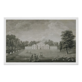 View of the Palace at Kew from the Lawn, engraved Poster