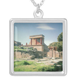 View of the Palace of Knossos Silver Plated Necklace