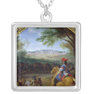 View of the Palace of Versailles in 1669 Silver Plated Necklace
