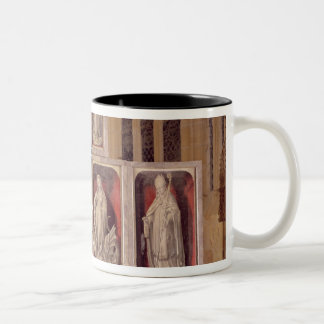 View of the panels of the closed altarpiece Two-Tone coffee mug