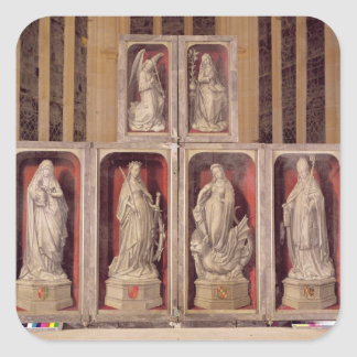 View of the panels of the closed altarpiece square sticker