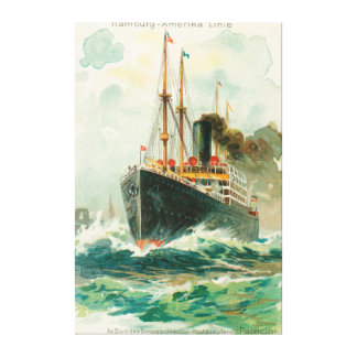 View of the Patricia at Sea, Hamburg-America Stretched Canvas Print
