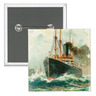 View of the Patricia at Sea, Hamburg-America Pinback Button