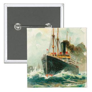 View of the Patricia at Sea, Hamburg-America Pinback Button